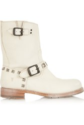 Frye Rogan Textured Leather Studded Ankle Boots Off White