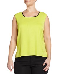 Ming Wang Plus Sleeveless Scoop Neck Shell Lime Green Black