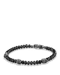 David Yurman Spiritual Beads Skull Station Bracelet In Black Spinel