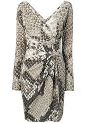 Roberto Cavalli Snakeskin Print Dress Neutrals