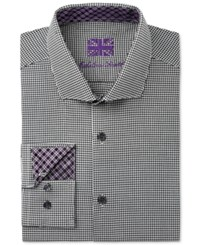 Michelsons Men's Fitted Black Houndstooth Dress Shirt