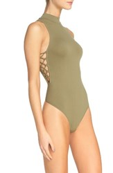 Free People Women's Trying To See You Thong Bodysuit Moss