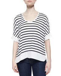 Dex Striped Oversized Tee Ivory Dark Navy