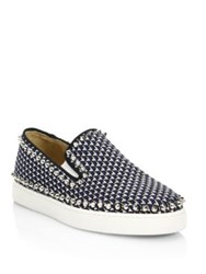 Christian Louboutin Pik Boat Glitter Pyramid Skate Sneakers Navy Silver