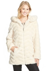 Gallery Hooded Chevron Faux Fur Coat Regular And Petite Cream