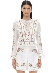 Zimmermann Printed Linen And Cotton Lace Cropped Top Ivory