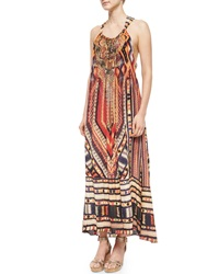 Camilla Printed Beaded Racerback Coverup Dress Chiapas Dance