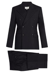 Maison Martin Margiela Pinstripe Double Breasted Suit Navy