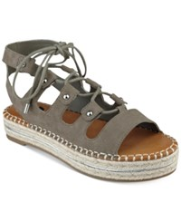 G By Guess Keeny Lace Up Platform Espadrille Sandals Women's Shoes Taupe