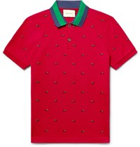 Gucci Slim Fit Embroidered Stretch Cotton Pique Polo Shirt Claret