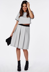 Missguided Plus Size Small Check Print Midi Skirt White