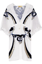 Emilio Pucci Embroidered Cotton And Silk Blend Kaftan White