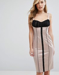 Elise Ryan Satin Pencil Dress With Hook And Eye Corset Detail Multi