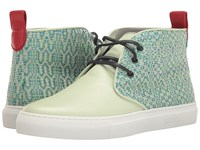 Del Toro High Top Textile Leather Chukka Sneaker Mint Green White Men's Shoes Blue