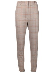 Zimmermann Checkered High Waisted Trousers Brown