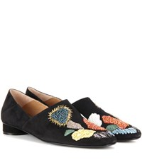 The Row Boelle Embellished Suede Slippers Black
