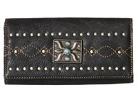 American West Black Canyon Flap Wallet Black Bi Fold Wallet