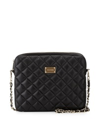 St. John Quilted Leather Chain Shoulder Bag Black