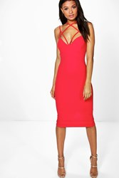 Boohoo Strappy Detail Midi Bodycon Dress Red