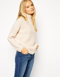 Asos Chunky Jumper In Twist Yarn With Turtle Neck Nude