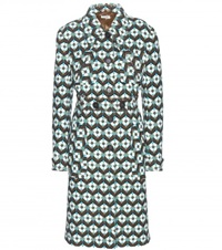 Miu Miu Printed Wool Coat Green
