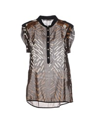19.70 Nineteen Seventy Shirts Blouses Women Dark Brown
