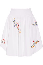 Tory Burch Cassie Embroidered Stretch Cotton Poplin Skirt White