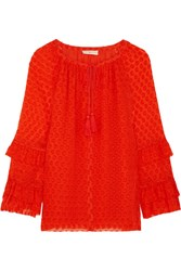 Tory Burch Madison Fil Coupe Silk Blend Blouse Orange