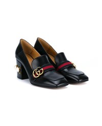 Gucci Leather Mid Heel Loafers Black Pearl Red Blue