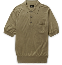 Alfred Dunhill Cashmere And Mulberry Silk Blend Polo Shirt Green