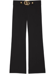 Gucci Stretch Viscose Pant With Double G Viscose Nylon Spandex Elastane Black
