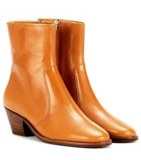 Isabel Marant Etoile Doynie Leather Ankle Boots Brown
