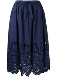 Muveil Perforated Detailing A Line Skirt Women Cotton 36 Blue