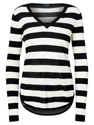 Lauren Ralph Lauren Stripe V Neck Jumper Polo Black White