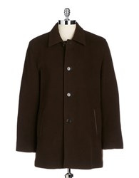 Cole Haan Wool And Cashmere Top Coat Brown