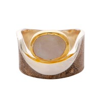 Carousel Jewels Moonstone Gold And Silver Pocket Ring Neutrals