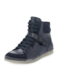 Kenneth Cole Brand Slam Leather High Top Sneaker Navy