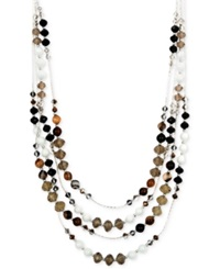 Jones New York Silver Tone Neutral Bead And Brown Agate Multi Row Necklace Black Brown Multi
