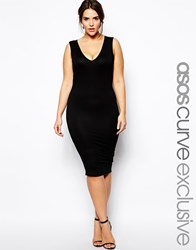 Asos Curve Exclusive Bodycon Dress With V Neck Black