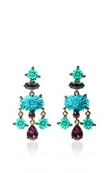 Oscar De La Renta Aqua Dahlia Earrings Blue