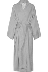 Three Graces London Isabella Cotton And Cashmere Blend Robe Stone