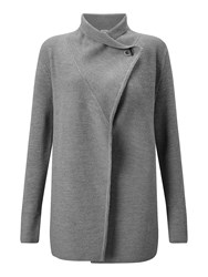 Jigsaw Ring Fastening Pique Cardigan Grey Marl