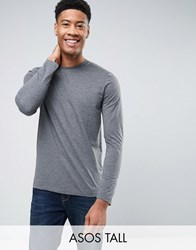 Asos Tall Long Sleeve T Shirt With Crew Neck Charcoal Marl Grey