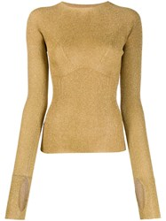 Lanvin Ribbed Knit Glitter Sweater Gold