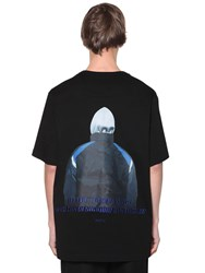 Juun.J Print And Embroidered Jersey T Shirt Black
