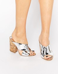 Glamorous Cork Mule Heeled Sandals Silver