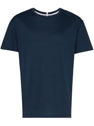 Lot 78 Lot78 Relaxed Fit Plain Cotton T Shirt Blue