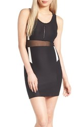 Topshop Women's Zip Sporty Body Con Dress Black