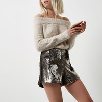 River Island Womens Petite Silver Sequin High Rise Shorts