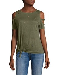 Generation Love Kendall Holes Cold Shoulder Tee Army Green